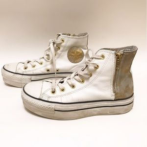 Converse White and Gold Size 4y